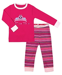Kushies Baby Full Sleeves Top and Legging Set - Tiara Print