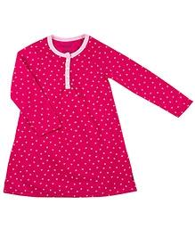 Kushies Baby Full Sleeves Night Gown - Heart Print