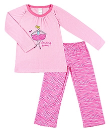 Kushies Baby Full Sleeves Top and Pyjama Set - Dancing Queen Print