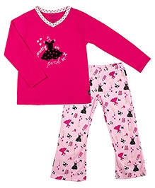 Kushies Baby Full Sleeves Top and Pyjama Set - Pretty in Pink Print