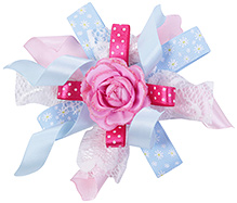 Stol'n Clip Multi Strands Ribbon And Lace With Pink Rose In Center