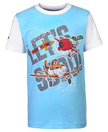 Disney Half Sleeves T-Shirt Plane Print - Blue And White