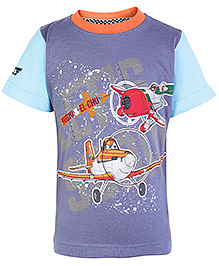 Disney Half Sleeves T Shirt Planes Print - Purple