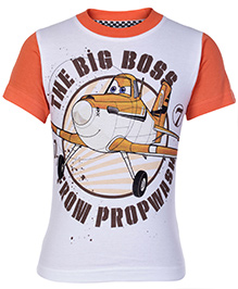 Disney Half Sleeves White And Orange T-Shirt - The Big Boss Print