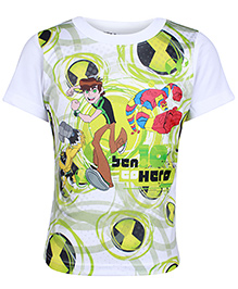 Ben 10 Half Sleeves White T-Shirt - Hero Print