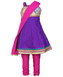 SAPS Purple N Pink Singlet Anarkali Kurta Chudidaar And Dupatta Set
