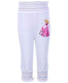 Disney Princess With Star Printed Full Length Leggings - White