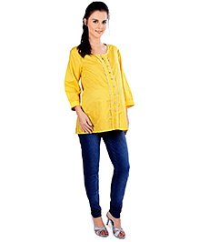 Nine Three Quarter Sleeves Maternity Cotton Top - Yellow - Small