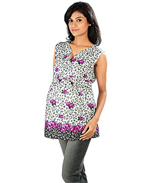 Nine White Maternity Sleeveless Top With Flower Print