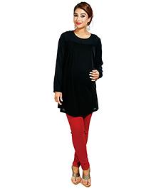 Nine Black Maternity Tunic With Sheer Chiffon Yoke