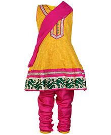 SAPS Yellow Sleeveless Kurta And Chudidaar With Dupatta
