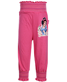 Disney Ruffled Pattern Pink Cotton Legging - Snow White Print