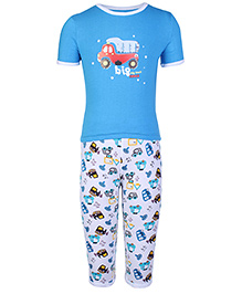 Peaches & Munchkins Short Sleeves Night Suit - Blue