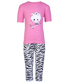Peaches & Munchkins Short Sleeves Night Suit - Pink