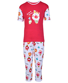 Peaches & Munchkins Short Sleeves Red T-shirt And Legging Set