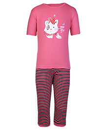 Peaches & Munchkins Short Sleeves Pink T-shirt And Legging Set