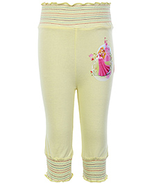 Disney Princess With Flower Printed Full Length Leggings - Yellow
