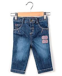 Beebay Embroidered Denim Trouser Blue