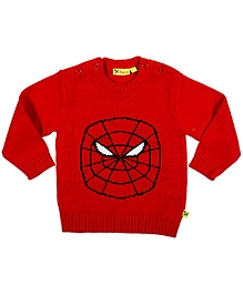 Buzzy Red Full Sleeves Spiderman Design Sweater