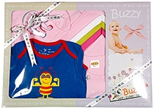 Buzzy Pink Plain Baby Gift Set - Pack Of 7