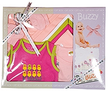 Buzzy Pink Plain Baby Gift Set - Pack Of 8