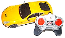 Adraxx Yellow Remote Control Sports Car Model With Headlights