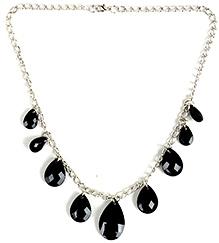 NeedyBee White Metal Black Resin Crystal Necklace