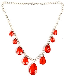 NeedyBee White Metal Red Resin Crystal Necklace