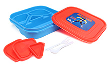Pep India Lunch Box Captain India Blue And Red Lunch box 19 x 19 x 4.5 cm, High quality lunch box with four partitions...