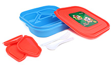Pep India Lunch Box Fafa Juno Blue And Red Lunch box 19 x 19 x 4.5 cm, High quality lunch box with four partitions...