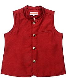Campana Maroon Sleeveless Nehru Jacket