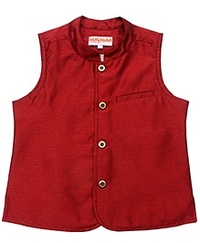Campana Maroon Sleeveless Nehru Jacket