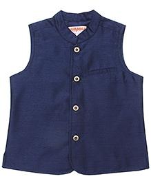 Campana Navy Blue Sleeveless Nehru Jacket