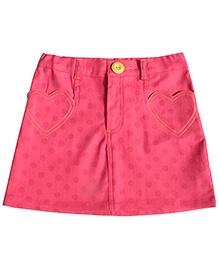 Campana Pink Polka Dots Print Straight Fit Skirt