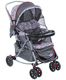Fab N Funky Pram With Mosquito Net - Grey And Black - 0 Months +