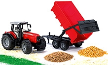 Bruder Massey Ferguson 7480 With Tipping Trailer