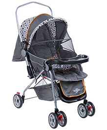 Fab N Funky Pram With Mosquito Net - Grey And White - 0 Months +