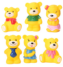 Toyzone Bear Vinyl Squeezy 3 Inch Toy 6 Pieces