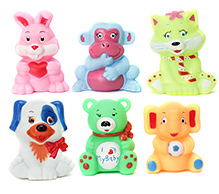 Toyzone Animal Vinyl Squeezy 3 Inch Toy 6 Pieces