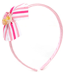 Barbie Pink Hair Band With Stripped Bow - 13 X 11.5 Cm