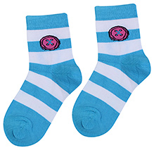 Bonjour Stripes Print Socks - Sky Blue