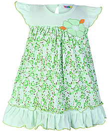 SAPS Cap Sleeves Green Frock - Flower Applique