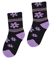 Bonjour Flower Design Socks - Black N Purple