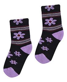 Bonjour Flower Design Socks - Black N Purple