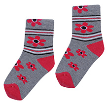 Bonjour Flower Design Socks - Grey N Dark Pink