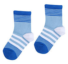 Bonjour Stripes Design Socks - Blue N White