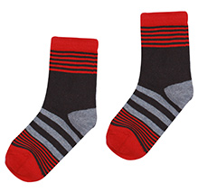 Bonjour Stripes Design Socks - Red N Black