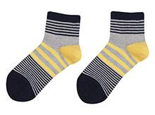 Bonjour Stripes Design Socks - Grey N Black