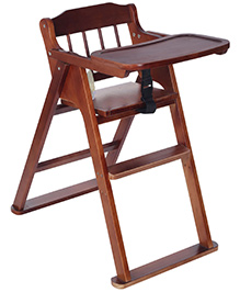 Fab N Funky Wooden High Chair with Safety Belt - Drak Brown