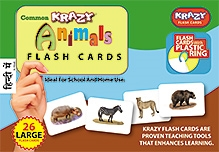 Krazy Animals Hindi Flash Cards With Plastic Ring - 26 Large Flash Cards